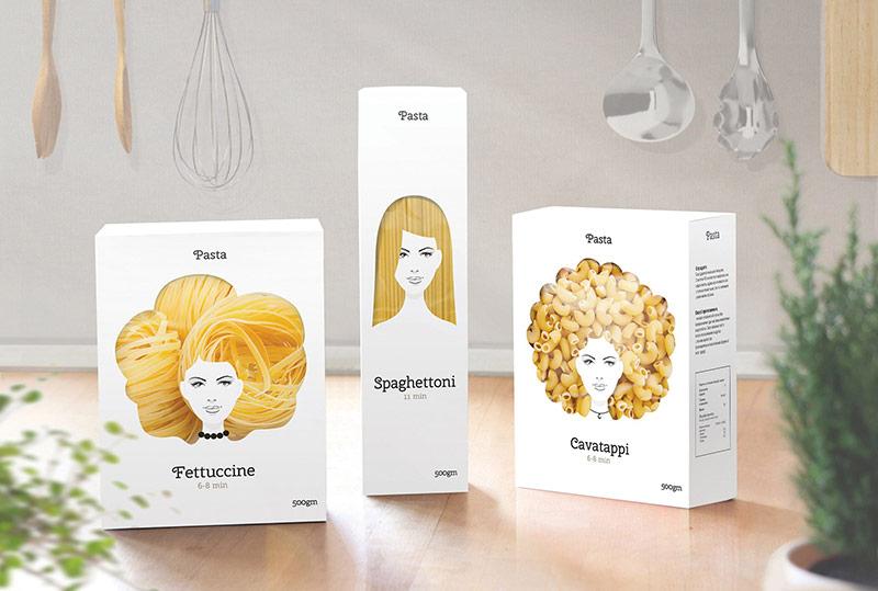 Thiết kế bao bì mỳ ống duyên dáng như mái tóc của một cô gái