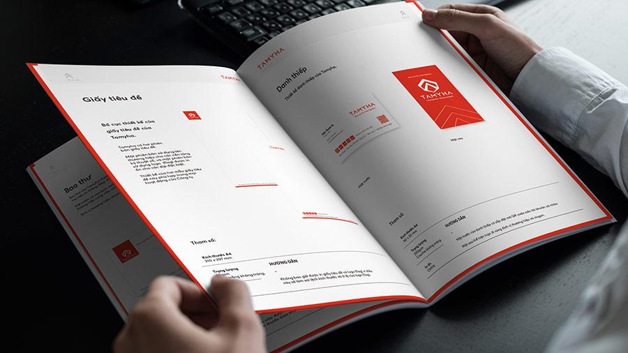 Cẩm nang nhận diện thương hiệu, hệ thống thiết kế văn phòng phẩm.